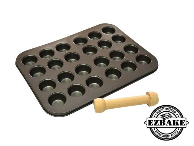迷你24杯杯型烤盤+壓塔棒  24 MINI MADELENE PAN+ WOODEN TOOL